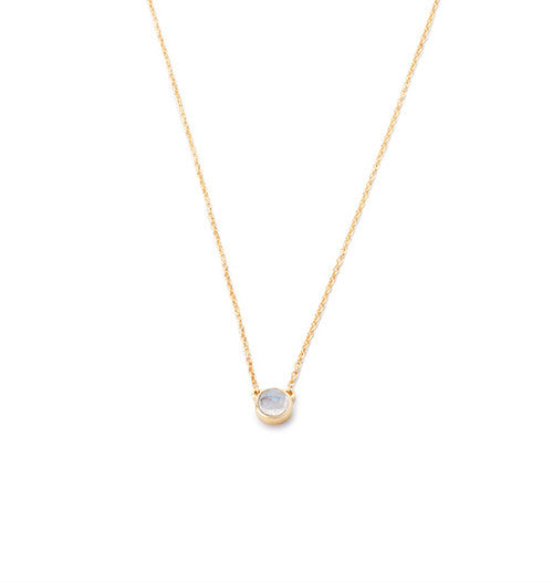 Petite Bezel Necklace Moonstone