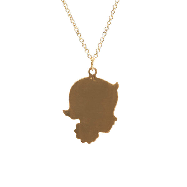 traditional girl silhouette charm on necklace in 14 karat yellow gold