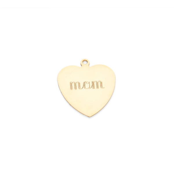 classic flat heart charm in 14 karat yellow gold