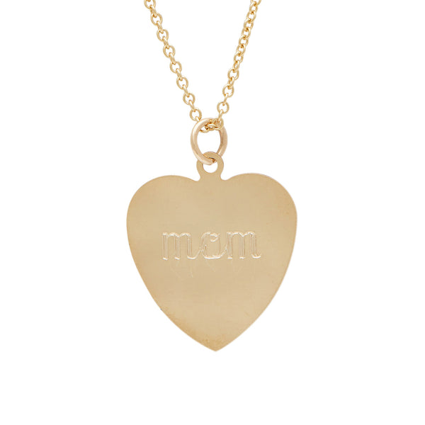 classic flat heart charm necklace in 14 karat yellow gold