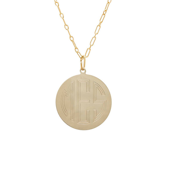 classic 14 karat yellow gold disc charm necklace