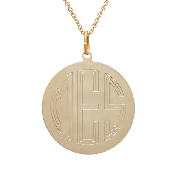 14k Gold Large Disc Necklace
