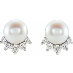 Pearl and Diamond Demi Studs