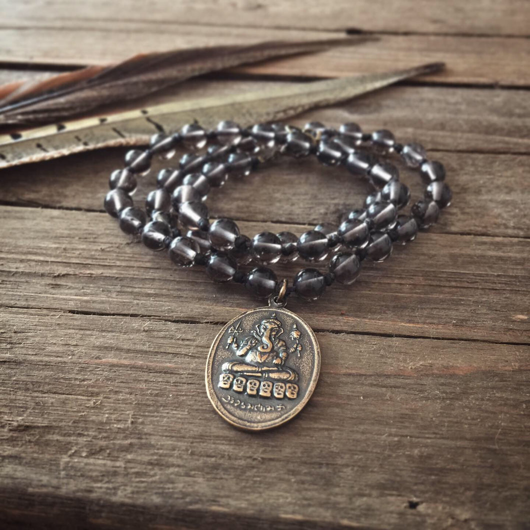 smoky quartz + ganesh mini mala