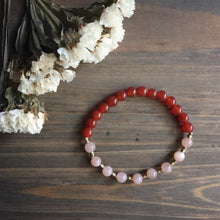 Load image into Gallery viewer, peach moonstone + carnelian