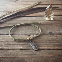 Load image into Gallery viewer, small amulet + olive vegan suede