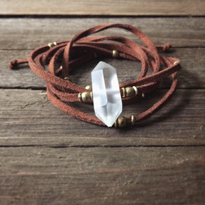 clear quartz + terracotta vegan suede wrap