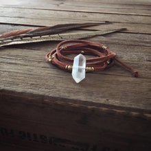 Load image into Gallery viewer, clear quartz + terracotta vegan suede wrap