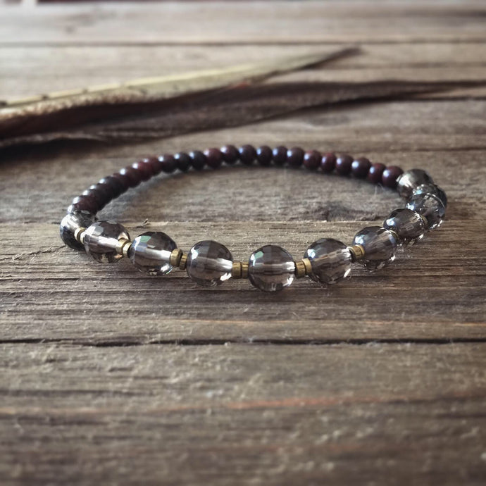 faceted smoky quartz + rosewood