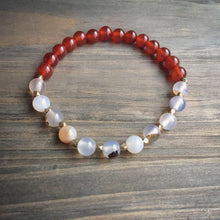 Load image into Gallery viewer, carnelian + white flower agate