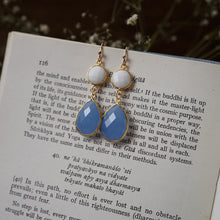 Load image into Gallery viewer, white agate + blue chalcedony earrings