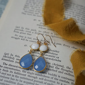white agate + blue chalcedony earrings