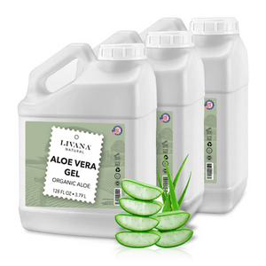 Aloe Vera Gel Organic - 1 Gallon - Made in USA | Fast Shipping 3-Pack - Livananatural