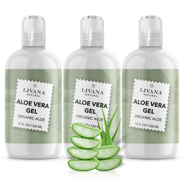 Image of Aloe Vera Gel - Organic Aloe Vera - 12 fl oz - 3 Pack - Livananatural
