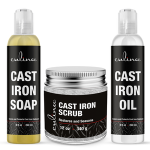 Culina Supreme Cast Iron Care Set: Restoring Scrub, Cleaning Soap & Conditioning Oil | Best for Cleaning Care, Washing & Restoring | 100% Plant-Based |
