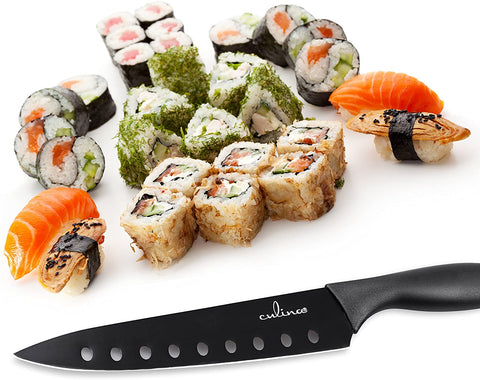 Image of Culina® 8-Inch Nonstick Carbon Steel Sushi Knife with Sheath, Black - Livananatural
