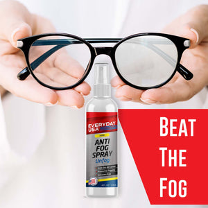 Anti Fog Spray for Glasses, Goggles, PPE, VR Headsets | Prevents Fog on All Lenses | Safe on Anti-Reflective Lenses | Made in the USA | UnFog by EverydayUSA - LivanaNatural