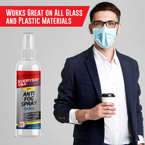 Image of Anti Fog Spray for Glasses, Goggles, PPE, VR Headsets | Prevents Fog on All Lenses | Safe on Anti-Reflective Lenses | Made in the USA | UnFog by EverydayUSA - LivanaNatural