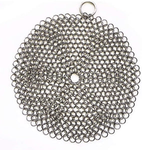 316 Premium Stainless Steel Cast Iron Cleaner, Chainmail Scrubber for Cast Iron Pan Pre-Seasoned Pan Dutch Ovens Waffle Iron Pans Scraper Cast Iron - LivanaNatural