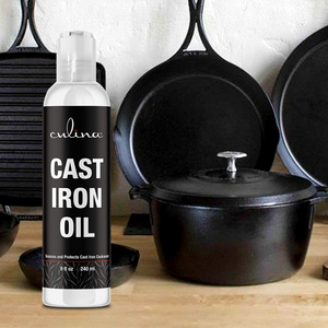 Culina Cast Iron Oil Kosher OU Certified Cleans and Protects Cast Iron Cookware, 8 oz - Livananatural