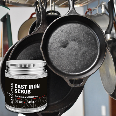 Image of Culina Cast Iron Cleaning & Restoring Scrub | Removes Rust Without Scratching & Care Before Cleaning, Washing & Seasoning | 100% Natural | - Livananatural