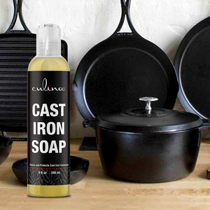 Cast Iron Soap by Culina - Cleans and Protects Cast Iron Cookware, Kosher Certified 8oz - Livananatural