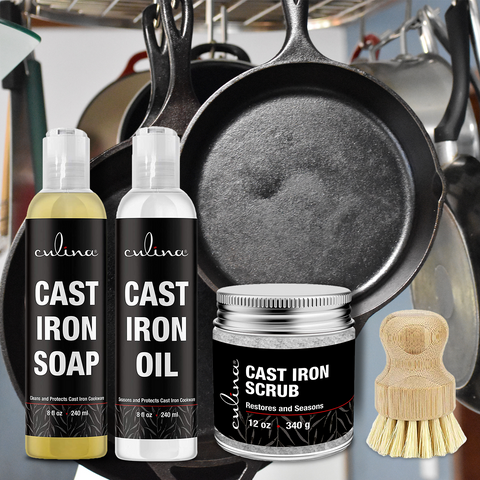 Image of Culina Cast Iron Soap Set | Conditioning Oil | Stainless Scrubber | Restoring Scrub | All Natural Ingredients | Best for Cleaning, Non-stick Cooking & Restoring | for Cast Iron Cookware, Skillets, Pans & Grills!… - Livananatural