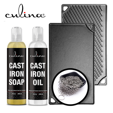 Image of Culina Cast Iron Soap Set | Conditioning Oil | Stainless Scrubber | All Natural Ingredients | Best for Cleaning, Non-stick Cooking & Restoring | for Cast Iron Cookware, Skillets, Pans & Grills!… - Livananatural