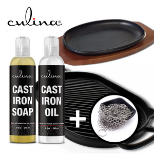 Culina Cast Iron Soap Set | Conditioning Oil | Stainless Scrubber | All Natural Ingredients | Best for Cleaning, Non-stick Cooking & Restoring | for Cast Iron Cookware, Skillets, Pans & Grills!… - Livananatural