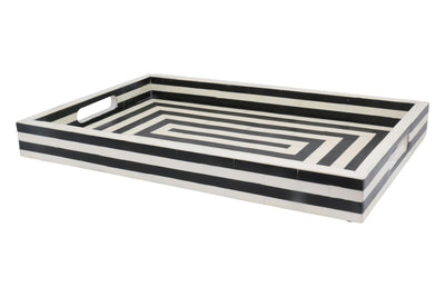 "Handicrafts Home Concentric Art Inspired Decorative Trays Black & White in 12"" x 12"" & 11"" x 17"""