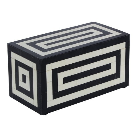 Concentrics Decorative Jewelry Storage Box Black and White - 10x5x5 Inch