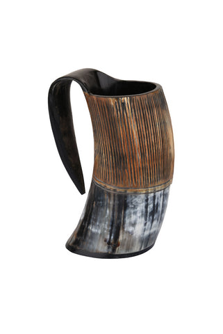 Striped Horn Viking Drinking Mugs Cups Ox Horn Beaker, 6 inches