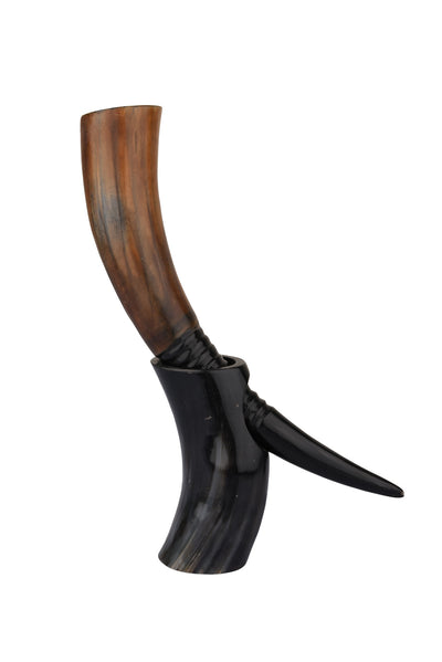 Auger Midnight Real Viking Drinking Horn with Stand Cups Vessels, 14 inches
