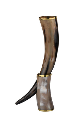 Metallic Touch Real Viking Drinking Horn with Stand Cups Vessels, 14 inches
