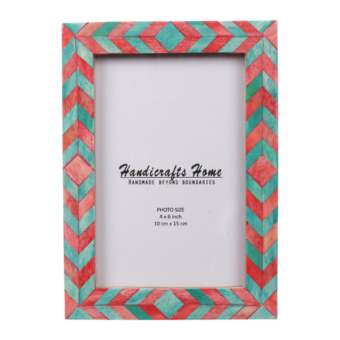 Photo Frame Green Red Mosaic Chevron - 4x6 Inches