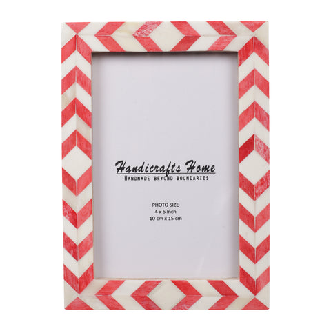 Photo Frame Red White Mosaic Chevron - 4x6 Inches