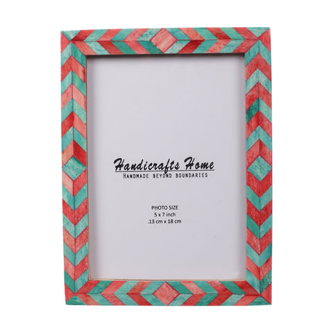 Photo Frame Green Red Mosaic Chevron - 5x7 Inches