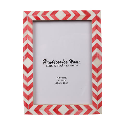 Photo Frame Red White Mosaic Chevron - 5x7 Inches