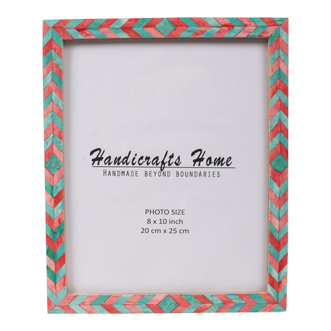 Photo Frame Green Red Mosaic Chevron - 8x10 Inches