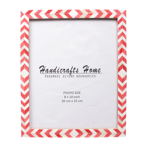Photo Frame Red White Mosaic Chevron - 8x10 Inches