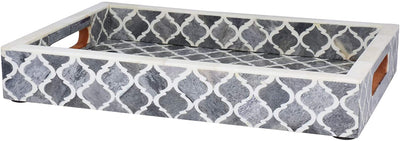 12x8'' Decorative Tray Moroccan Bone Inlay Ottoman Trays - Grey