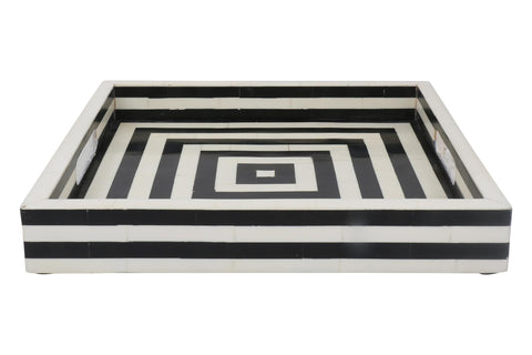 Concentric Art Inspired Decorative Trays Black & White in 12x12 Inch