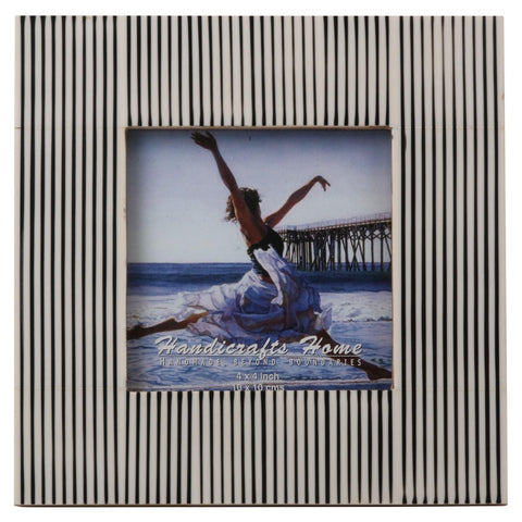 Black & White Striped Photo Frame Handmade Resin - 4x4 Inch