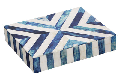 Decorative Chevron Jewelry Travel Gift Boxes - Blue-White