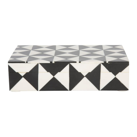 8x5 Black & White Triangle Decorative Jewelry Box