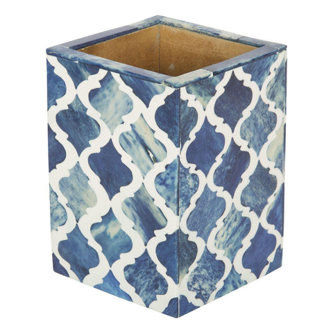Moroccan Pattern Pen & Pencil Holder Caddy Desk Cup - Blue