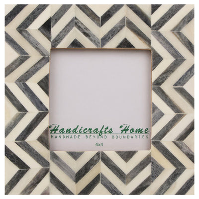 4x6 Picture Frames Chevron Pattern Bone Inlay - Brown