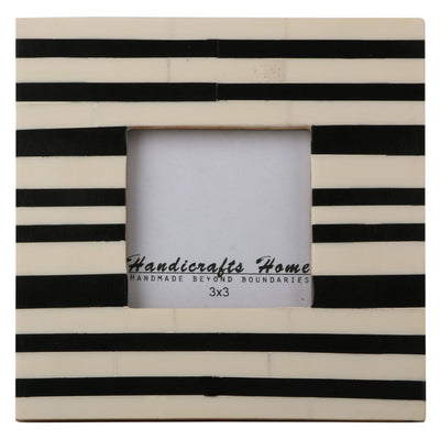 Black & White Striped Photo Frame Handmade Resin - 3x3 Inch