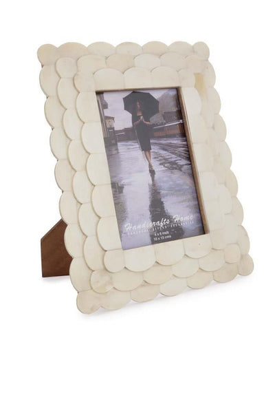 Photo Frame Scalloped Arts Inspired Bone Inlay White - 4x6