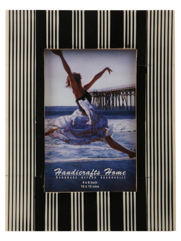 Black & White Striped Photo Frame Handmade Resin - 4x6 Inch